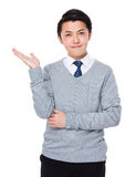 Asian Businessman With Hand Showing Blank Sign Royalty Free Stock Images