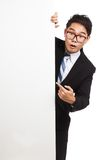 Asian businessman wonder point to banner Royalty Free Stock Photography