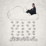 Asian businessman working on cloud Royalty Free Stock Photography