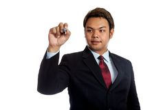 Asian businessman write in the air Royalty Free Stock Photos