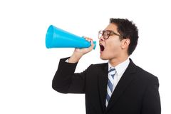 Asian businessman yell with megaphone Royalty Free Stock Photo