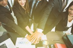 Happy successful Asian business team Royalty Free Stock Photo