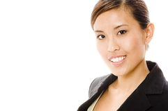 Asian Businesswoman. An attractive young asian businesswoman on white background. Room left for copy Stock Photo