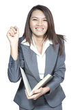 Asian businesswoman beautiful young pretty gesture smiling drawi. Happy smiling cheerful attractive young business woman writing or drawing on screen with black Stock Photo