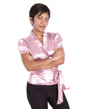 Asian businesswoman in black trousers and pink blo Stock Photos