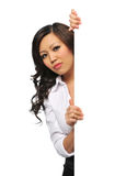 Asian Businesswoman with blank sign stock image