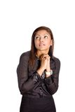 Asian businesswoman with both hands clasp together Stock Photos