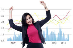 Asian businesswoman celebrate her achievement 1 Stock Photos