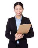 Asian Businesswoman with clipboard Stock Images
