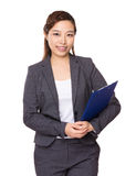 Asian Businesswoman with clipboard Stock Photography