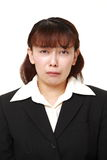 Asian businesswoman cries. Studio shot of young Asian woman on white background Stock Photography