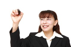 asian businesswoman draw in the air Royalty Free Stock Photography