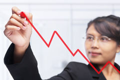 Asian businesswoman drawing graph Royalty Free Stock Photography