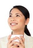 Asian businesswoman drinking coffee Stock Photos