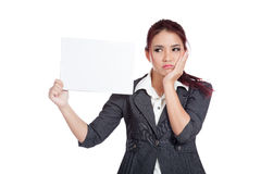 Asian businesswoman fed up hold a blank sign Stock Image