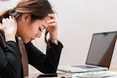 Asian businesswoman are feeling stressed stock photos