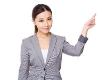 Asian Businesswoman with finger point up Stock Photo