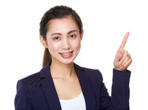 Asian businesswoman with finger point up Royalty Free Stock Image