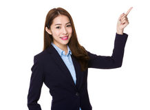 Asian Businesswoman with finger point up royalty free stock images