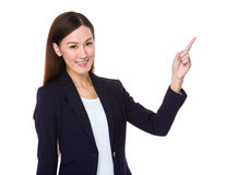 Asian businesswoman with finger showing up Royalty Free Stock Photos