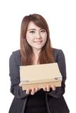 Asian Businesswoman give a box Stock Images