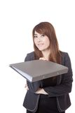 Asian Businesswoman give a folder and smile Stock Images
