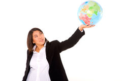 Asian businesswoman with globe Stock Photos