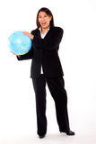 Asian businesswoman with globe Stock Images