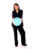 Asian businesswoman with globe Royalty Free Stock Images