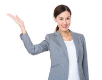 Asian businesswoman with hand show with blank sign Royalty Free Stock Photo
