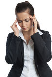 Asian Businesswoman headache both Stock Photo