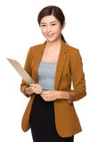 Asian Businesswoman hold with clipboard Stock Image