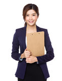 Asian businesswoman hold with clipboard Stock Images