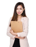 Asian businesswoman hold with clipboard Royalty Free Stock Photo