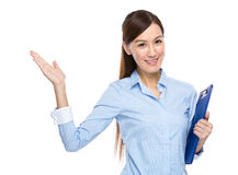 Asian businesswoman hold clipboard present Stock Photo