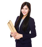 Asian businesswoman hold with folder Royalty Free Stock Images