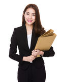 Asian businesswoman hold with folder Royalty Free Stock Image