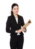 Asian Businesswoman hold with folder Royalty Free Stock Photo