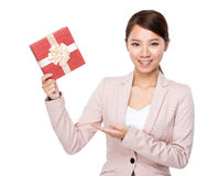 Asian businesswoman hold with gift box Royalty Free Stock Photography