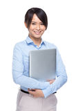 Asian businesswoman hold with laptop computer Stock Photos