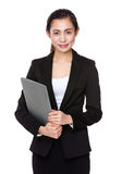 Asian businesswoman hold with laptop computer Stock Image