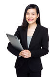 Asian businesswoman hold with notebook computer Stock Images