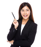 Asian businesswoman hold pen with idea Stock Images