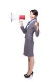 Asian businesswoman holding bullhorn Stock Image