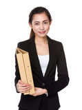 Asian businesswoman holding with document work Royalty Free Stock Photos