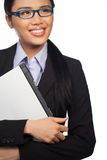 Asian businesswoman holding a laptop Royalty Free Stock Image