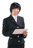 Asian businesswoman holding laptop Royalty Free Stock Photos