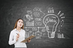 Asian businesswoman and an idea drawing Royalty Free Stock Image