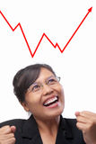 Asian businesswoman joyfully see graph Royalty Free Stock Photography