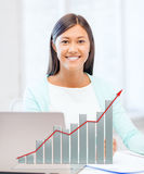 Asian businesswoman with laptop and documents Stock Photography
